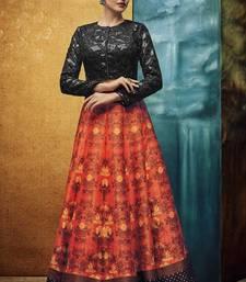 Buy Orange printed art silk unstitched lehenga pakistani-lehenga online