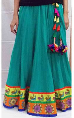 Cotton long skirt with folk peacock and circle leaves borders
