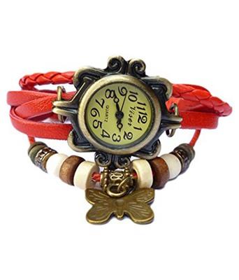 Vintage Charm Watch Bracelet Red Leather Strand Free Size