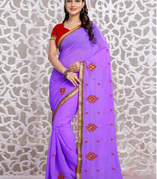 Buy  purple embroidered georgette saree with blouse designer-embroidered-saree online
