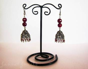 Silver Jhumka with Pink Violet beads