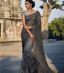 Buy Grey embroidered net saree with blouse net-saree online
