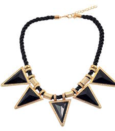 """Buy """" Triangle Of Loe"""" Black and Gold color Statement Necklace for Womens collar-necklace online"""