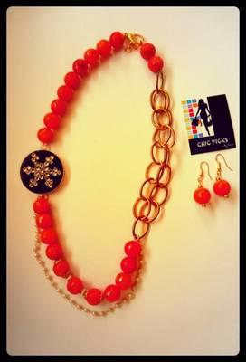 Black kundan pendant -Orange Onyx Designer Necklace with Earrings