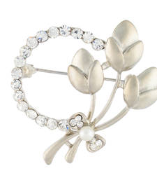 Buy Silver Colour Round Shape Brooch for Men and Women brooch online
