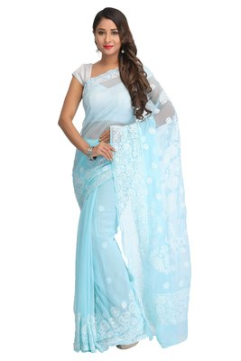 Blue embroidred georgette saree with blouse