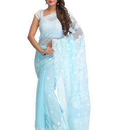 Buy Blue embroidred georgette saree with blouse chikankari-saris online