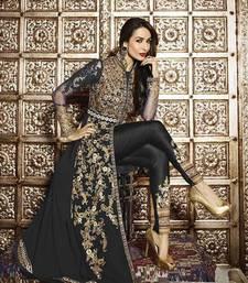 Buy Black embroidered georgette semi stitched salwar with dupatta pakistani-salwar-kameez online