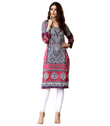 Buy Blue and Pink Cotton Kurta cotton-kurti online