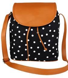 Buy Black Canvas with PU Flap Polka Sling Bag sling-bag online