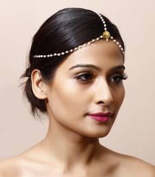 Buy Designer Pearl & Golden Bead Maang Tikka eid-jewellery online