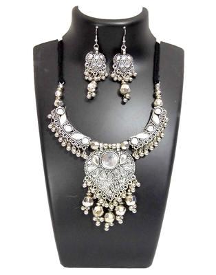 Oxidized Metal Navratri Jewellery Set- White Beads Pendant