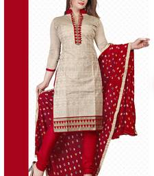 Buy Cream embroidered chiffon unstitched salwar with dupatta dress-material online
