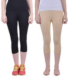 Buy Black and Skin plain Cotton capris-3-4-pants capris-3-4-pant online