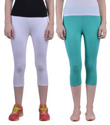 Buy White and Sea Green plain Cotton capris-3-4-pants capris-3-4-pant online