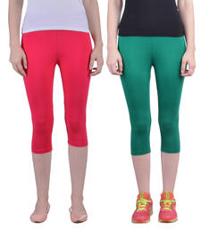 Buy Red and Pak Green plain Cotton capris-3-4-pants capris-3-4-pant online