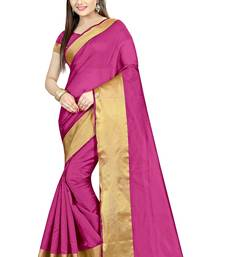 Buy Pink Plain cotton poly saree with blouse Woman online