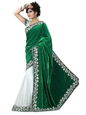 Green embroidered velvet saree with blouse