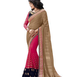 Buy Rani pink embroidered georgette saree party-wear-saree online