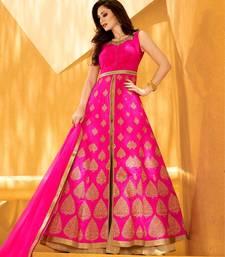 Buy Pink embroidered dupion silk semi stitched wedding anarkali dress anarkali-salwar-kameez online