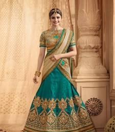 Buy beige embroidered silk lehenga with choli ghagra-choli online