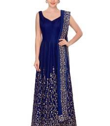 Buy Fabron Navy blue embroidered art silk semi stitched salwar with dupatta anarkali-salwar-kameez online