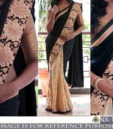 Buy Black embroidered georgette saree with blouse hand-woven-saree online