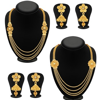 Dazzling Jalebi 4 String Gold Plated Set Necklace Set Combo For Women