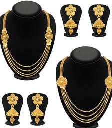 Buy Dazzling Jalebi 4 String Gold Plated Set Necklace Set Combo For Women jewellery-combo online