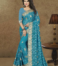 Buy Blue embroidered georgette saree with blouse wedding-season-sale online