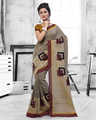 Light brown printed art silk saree with blouse