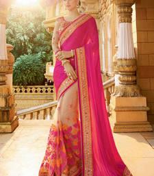 Buy Pink embroidered satin saree with blouse wedding-saree online