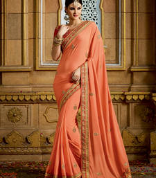 Buy Salmon embroidered georgette saree with blouse wedding-season-sale online