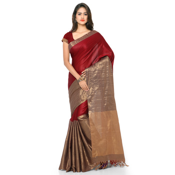 Maroon hand woven cotton silk saree with blouse