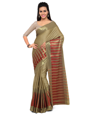 Gold hand woven cotton silk saree with blouse