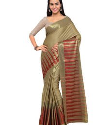 Buy Gold hand woven cotton silk saree with blouse handloom-saree online