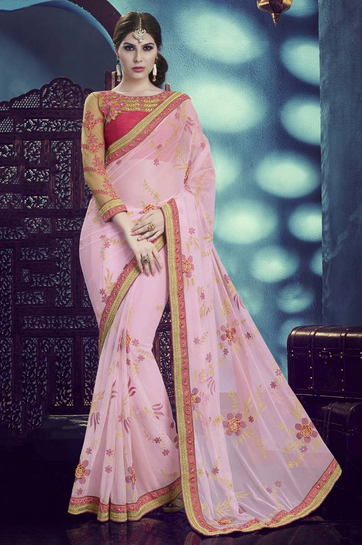 Buy Light Pink Embroidered Net Saree With Blouse Online