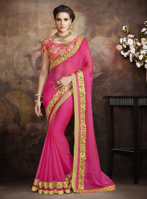 Dark baby pink embroidered pure chiffon saree with blouse