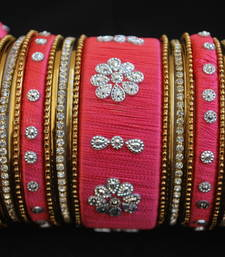 Buy Perfect for wedding pink thread work bangles bangles-and-bracelet online