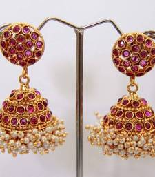 Buy  Round Stud Stone Layered Jumka - Purple danglers-drop online