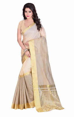 Cream hand woven cotton saree with blouse