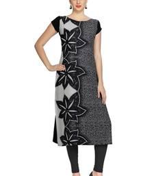 Buy black floral print crepe stitched kurtis long-kurtis online
