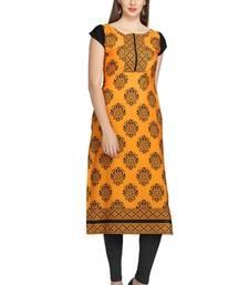 Buy Orange floral print crepe stitched kurtis long-kurti online