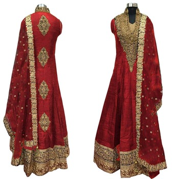 Red thread embroidery cotton silk semi stitched salwar with dupatta