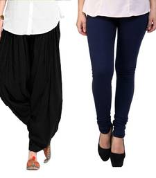 Buy Navy Blue and Black Cotton and Lycra Patiala and Legging patiala-leggings-combo online