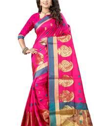 Buy Pink printed kanchipuram silk saree with blouse kanchipuram-silk-saree online