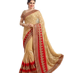 Buy Beige embroidered georgette saree with blouse georgette-saree online