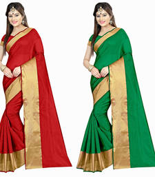 Buy Multicolor plain georgette saree with blouse sarees-combo-sari online