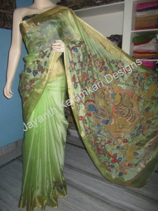 Buy Kota Silk With Pen Kalamkari Hand Work Saree Maggam