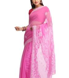 Buy Pink embroidered faux georgette saree with blouse chikankari-saris online